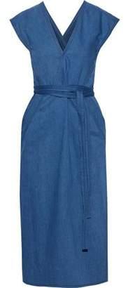 Derek Lam Wrap-effect Belted Denim Midi Dress