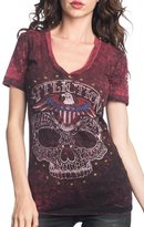 Affliction Women's Dead Head Reversible V Neck T-shirt Black Red Lava (L)