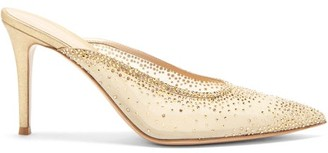 Gianvito Rossi Crystal-embellished Point-toe Mesh Mules - Gold