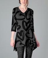 Lily Gray & Black Hearts Handkerchief Tunic - Plus Too