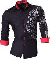 jeansian Men Slim Button Down Long Sleeves Dress Shirt 2028 Yellow XXL