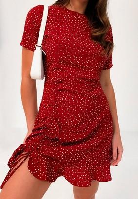 Missguided Burgundy Polka Dot Ruched Tea Dress
