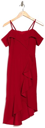Bebe Cold Shoulder Ruffle Hem Midi Dress