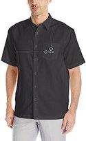 Cubavera Men's Short Sleeve Geometric Embroidery Detail Woven Shirt with Pocket