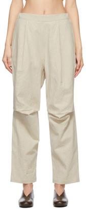 LAUREN MANOOGIAN Beige Linen Pleated Panteloon Trousers