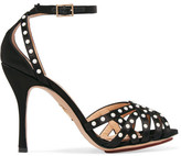 Charlotte Olympia Picalilly Faux Pearl-embellished Satin Sandals - Black