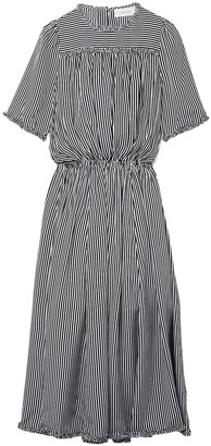 The Great The Confection Ruffled Striped Silk Midi Dress
