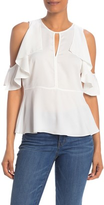 Rachel Roy Taylor Cold Shoulder Ruffle Top