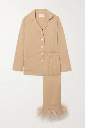 Sleeper Party Feather-trimmed Crepe De Chine Pajama Set - Beige