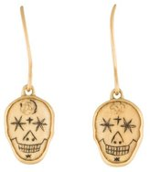 Me & Ro Me&Ro 18K Scrimshaw Skull Drop Earrings