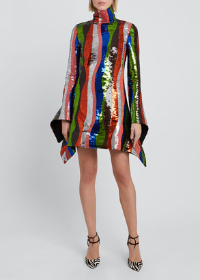 Halpern Sequin Striped High-Neck Mini Dress