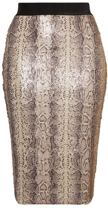 Marina Rinaldi Embellished Octopus Snake Print Skirt