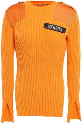 Versace Embellished Shell-paneled Ribbed Cotton Top