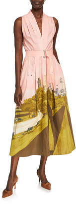 Lela Rose New York City Printed Poplin Belted V-Neck Dress