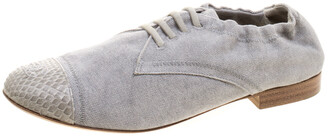 Chanel Grey Canvas and Python Trim Cap Toe Scrunch Flats Size 37.5
