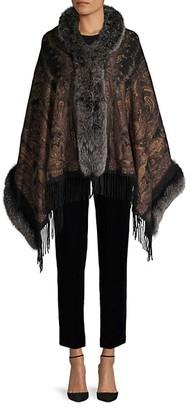 Belle Fare Paisley-Print Cashmere Fox Fur Cape