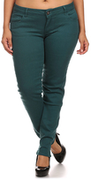 Teal Five-Pocket Skinny Pants - Plus Too