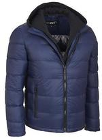Black Rivet Mens Puffy Jacket W/ Hooded Storm Collar