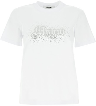 MSGM Rhinestone Logo Crewneck T-Shirt