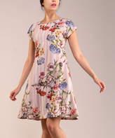 BEIGE Lbisse Women's Casual Dresses  Floral Stripe Cap-Sleeve Shift Dress - Women