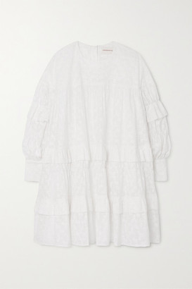 &Daughter Freda Tiered Embroidered Cotton-voile Mini Dress - White
