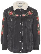 Petite rose embroidered borg jacket