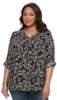 Croft & Barrow Plus Size Printed Roll-Tab Top