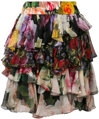 Dolce & Gabbana Short Floral Ruffled Skirt