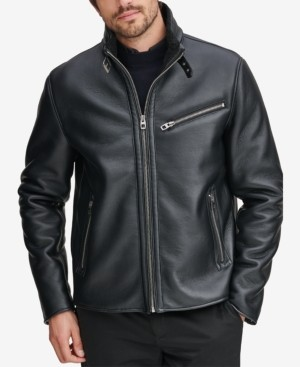 Andrew Marc Men's Faux-Leather Full-Zip Moto Jacket, Created for Macy's