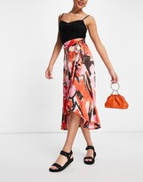 Thumbnail for your product : Monki Anna midi wrap skirt in red floral print