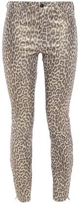 J Brand L8001 Leopard-print Stretch-leather Skinny Pants