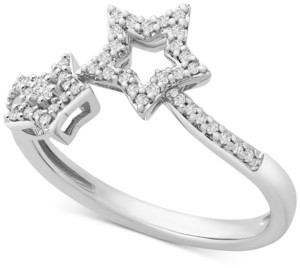 Wrapped Diamond Star By-Pass Ring (1/6 ct. t.w.) in 14k White Gold, Created for Macy's