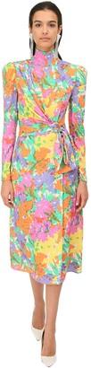 Alessandra Rich Printed Silk Midi Dress