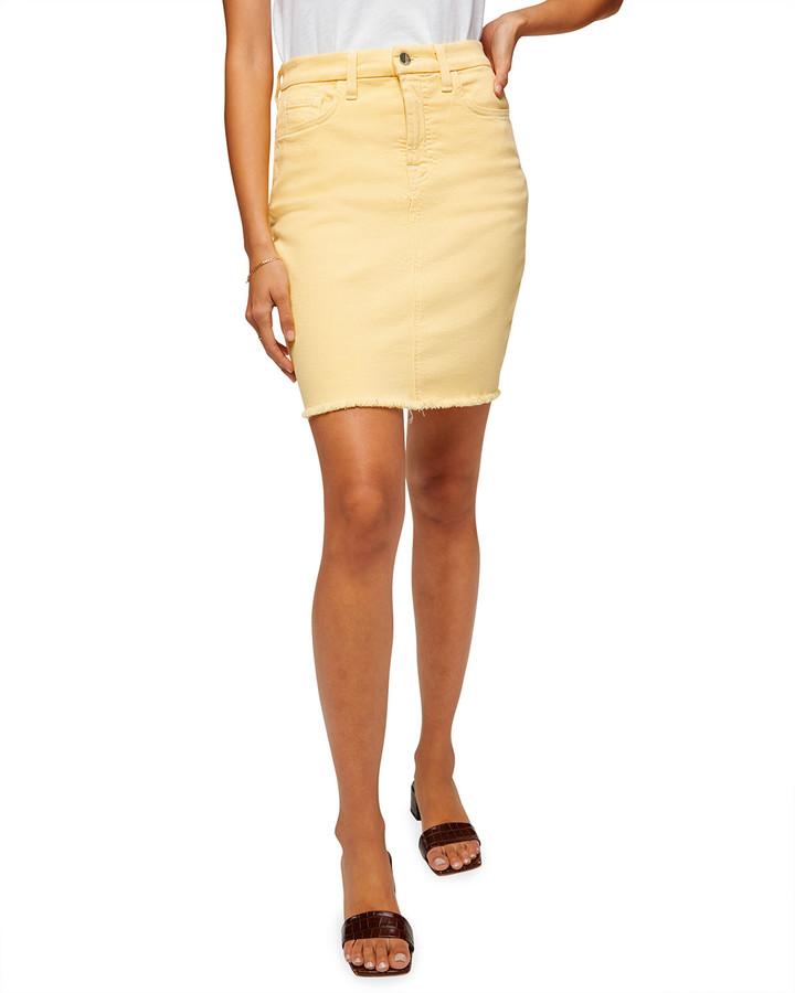 Thumbnail for your product : Jen7 Frayed-Hem Denim Pencil Skirt