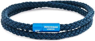 Tateossian Men's Braided Rubber Double-Wrap Bracelet, Size M