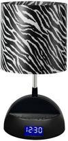 LighTunes Rhythm 15.25 in. Black Bluetooth Speaker Lamp with Alarm Clock, FM Radio, USB Charging Port and Zebra Printed Shade