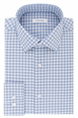 Calvin Klein Men's Dress Shirts Non Iron Regular Fit Stretch Plaid