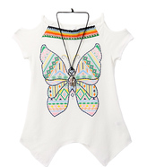 Beautees White Butterfly Cold-Shoulder Tee - Girls