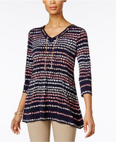 JM Collection Petite Printed Lace-Up Tunic, Only At Macy's