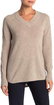 Griffen Cashmere Cable Knit Raglan Sleeve V-Neck Cashmere Sweater