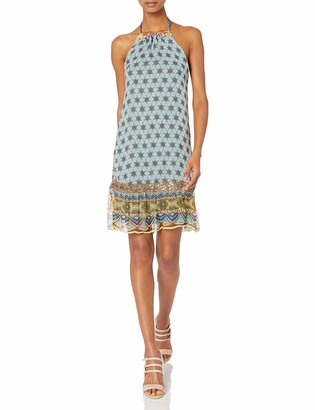 Nicole Miller Women's Star Medallions Viscose GGT Ruffle Dress