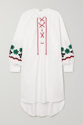 Miu Miu Embroidered Cotton-poplin Mini Dress - White
