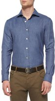Kiton Mini-Houndstooth Woven Shirt, Blue/Brown