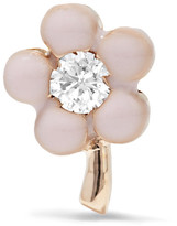 Alison Lou Tiny Flower 14-karat Gold, Diamond And Enamel Earring - one size