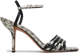 Diane von Furstenberg Federica Smooth And Snake-effect Leather Sandals