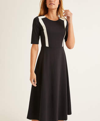 Boden Women's Casual Dresses Black - Black & White Emily Midi Fit & Flare Dress - Women, Women's Tall & Petite