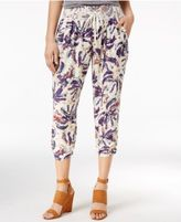 Rewash Juniors' Printed Ruched Cropped Soft Pants