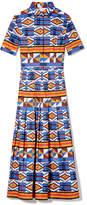 Stella Jean Pleated Short-Sleeve Shirt Dress in Kente/Multi