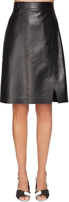 Sportmax High Waist Leather Wrap Skirt