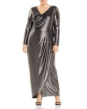 Adrianna Papell Metallic V-Neck Gown